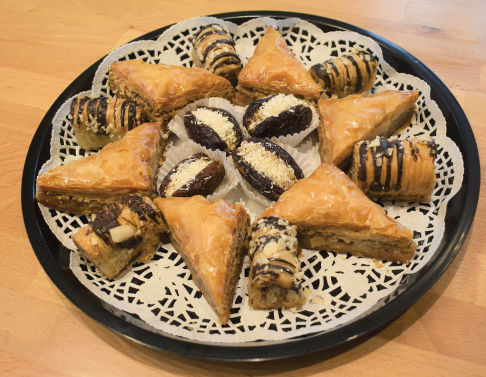 Baklava wedges and Greek pastries