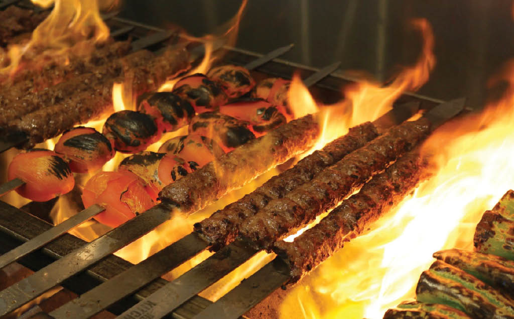 Delicoius grilled kabob meats and veggies