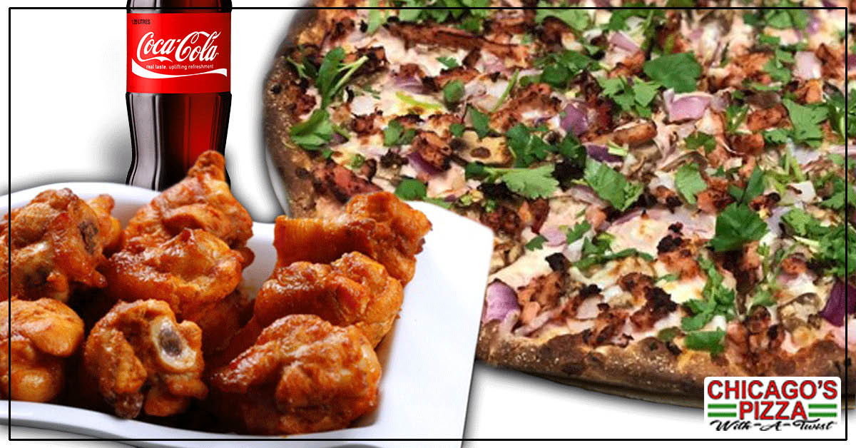 Wings, Breadsticks, Salads, Sandwiches, Pasta, Traditional Pizza, Specialty Indian Pizzas, Create-Your-Own Pizzas.
