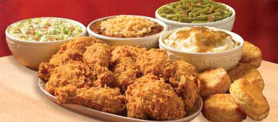 chicken, sides and biscuits