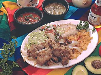 Chicken dinner with Spanish rice and beans served in Lititz