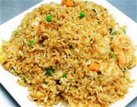 A local favorite - fried rice with peas and carrots
