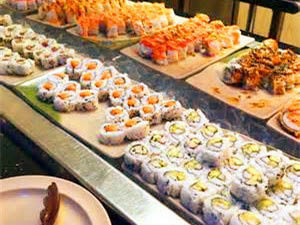 A wide assortment of sushi items on Chow King Buffet