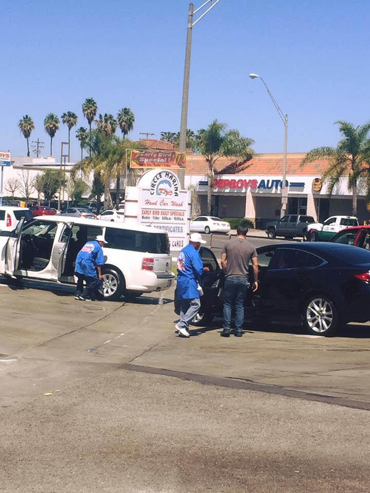 dedicated employees washing & detailing vehicles at circle marina car wash in long beach