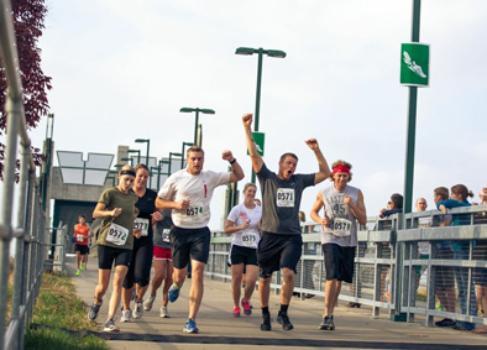 Healthy and happy marathon participants