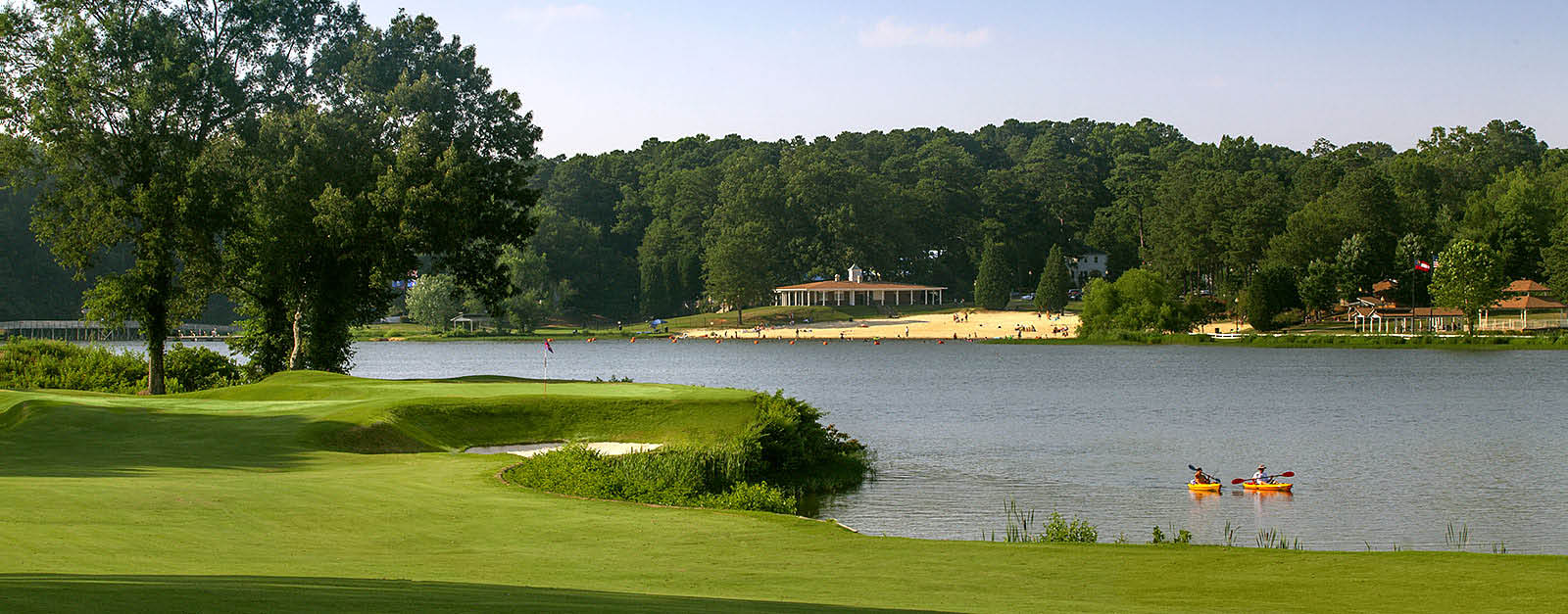 Scenic golf course with the Lake Acworth beach directly across