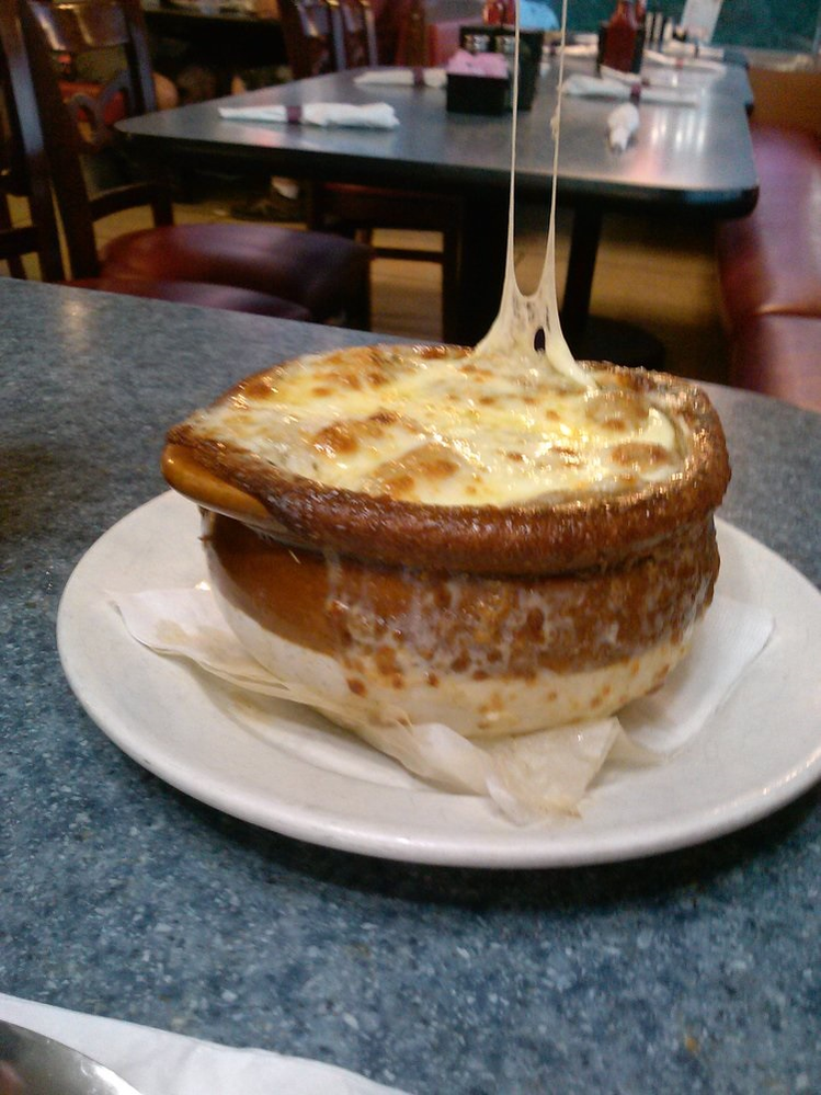 Cheese-pleasing French onion soup in Hummelstown, PA
