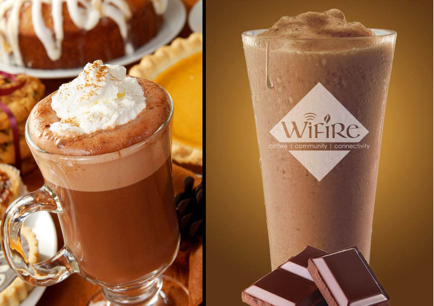 WiFire pumpkin spice latte and chocolate, protein frappe