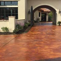 Driveway and entry area with stained concrete