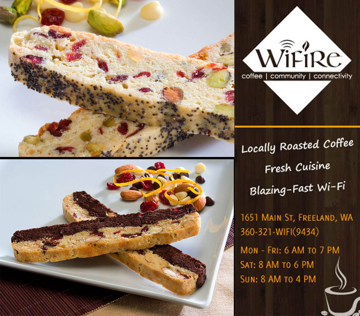 WiFire Cafe fresh baked biscotti, coffee locally roasted and fast wifi.