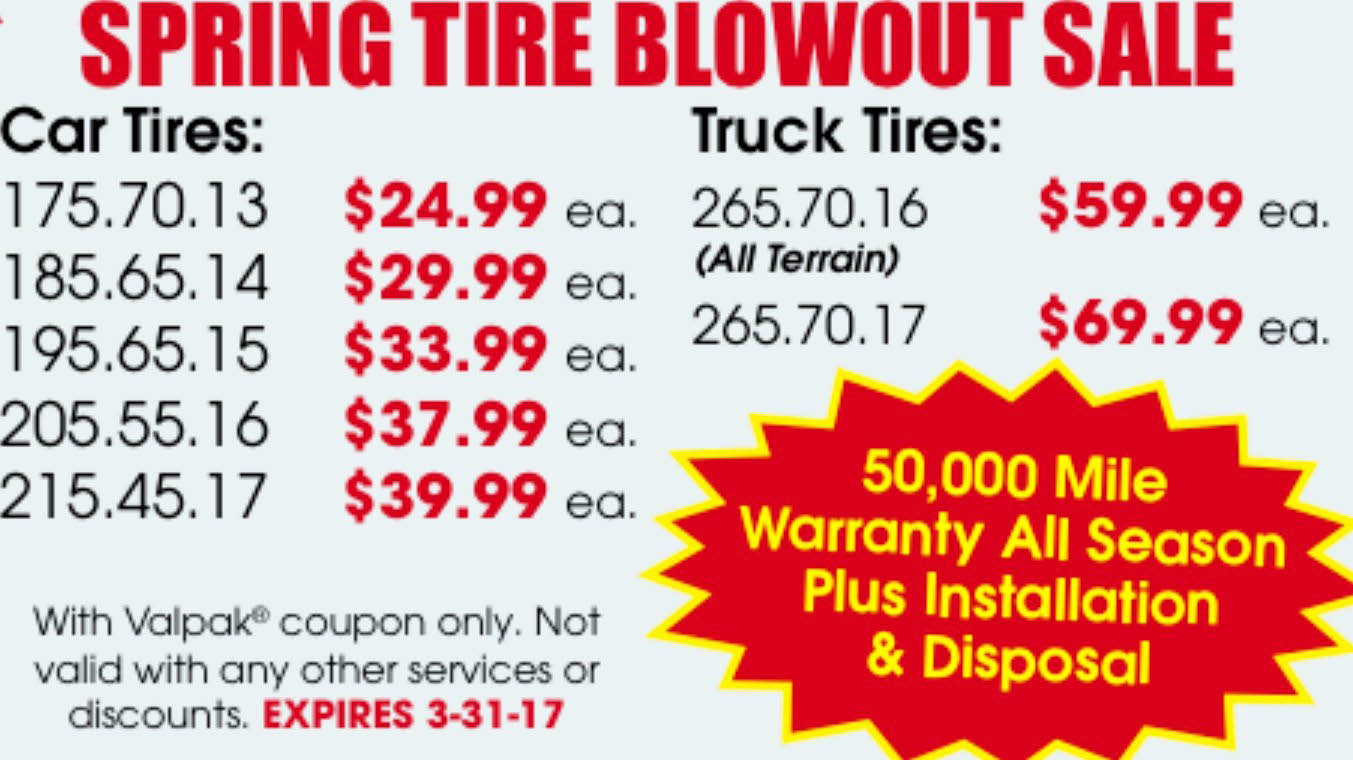 Tire sale coupon ad in Orance, CA