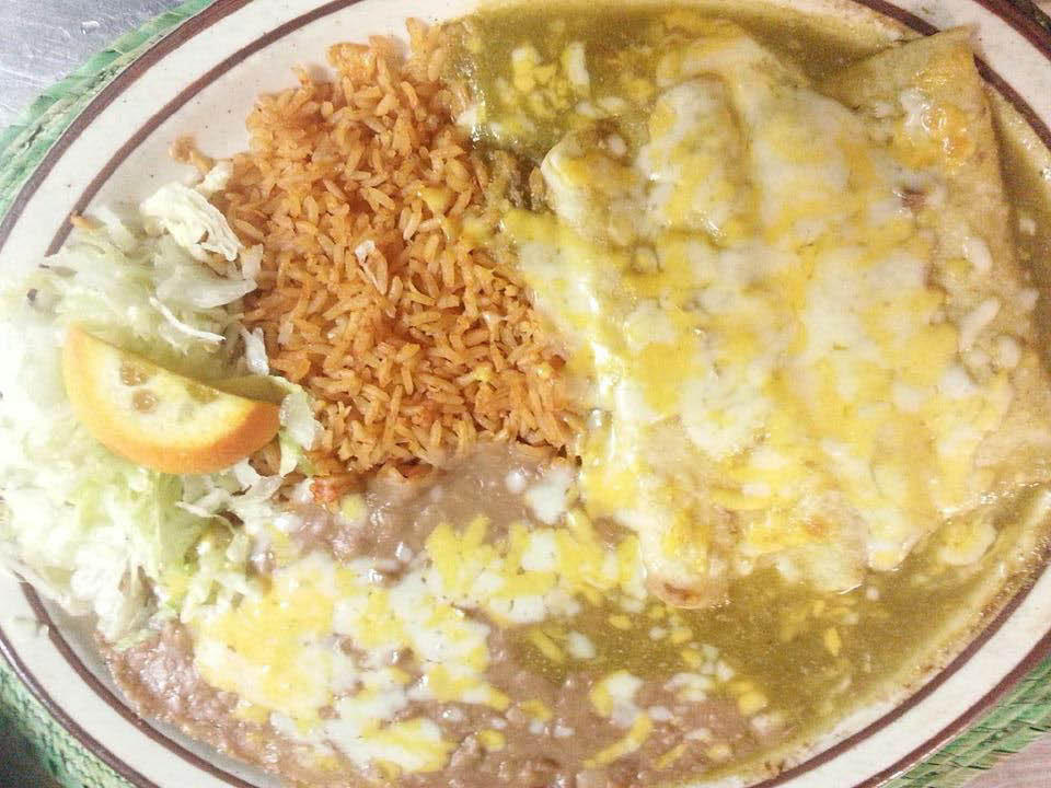Get enchiladas smothered in cheese and flanked by rice at Coronas near Pismo Beach.