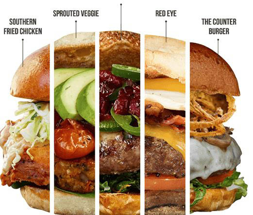 Four of The Counter Burger's custom creations in Houston