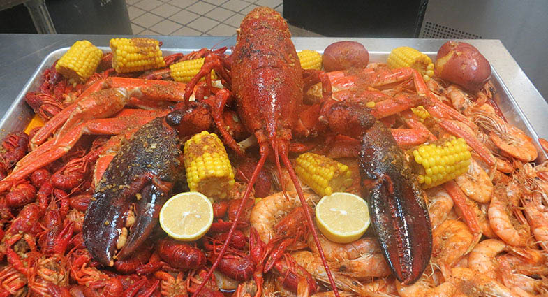 Lobster and crab boil at The Juicy Crab