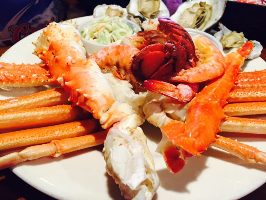 Fresh crab legs and homemade side dishes