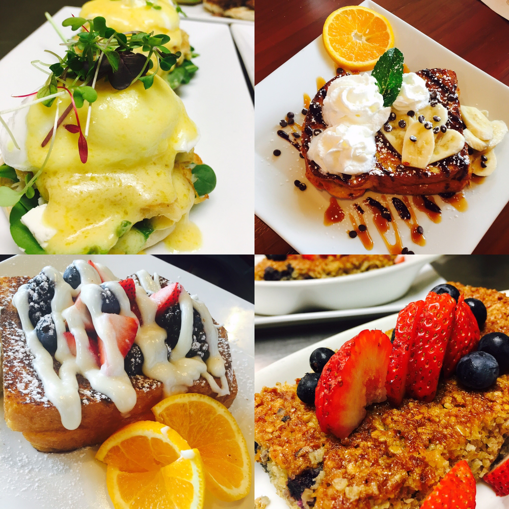 Eggs Benedict, french toast with fresh fruit and other foods near Colonial Park, PA