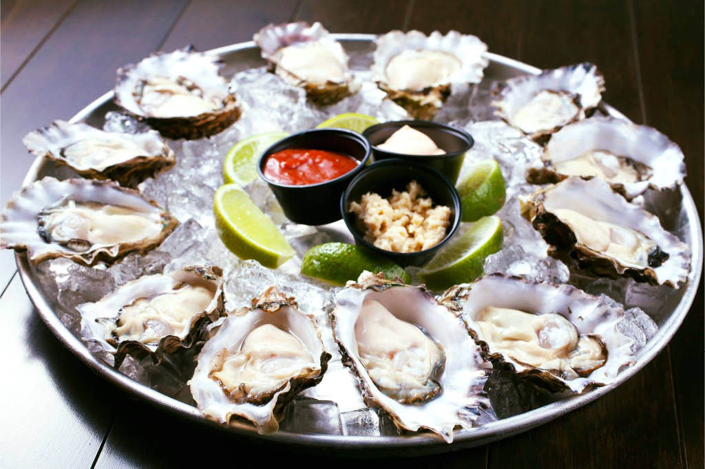 fresh oysters on half shell; Seafood and Vietnamese fusion