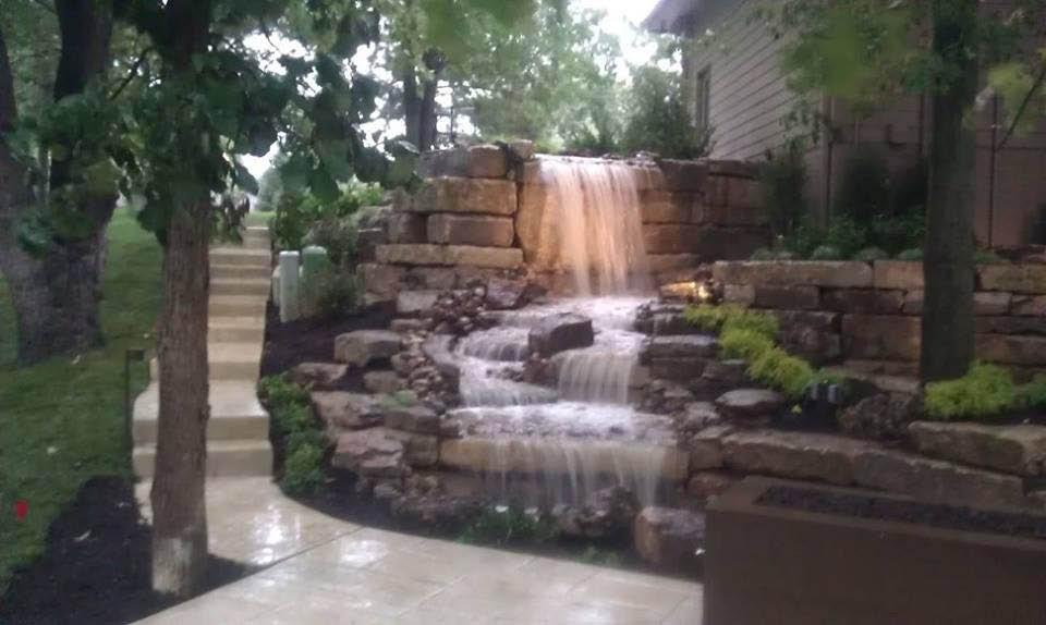 Outdoor waterfall installation near Omaha