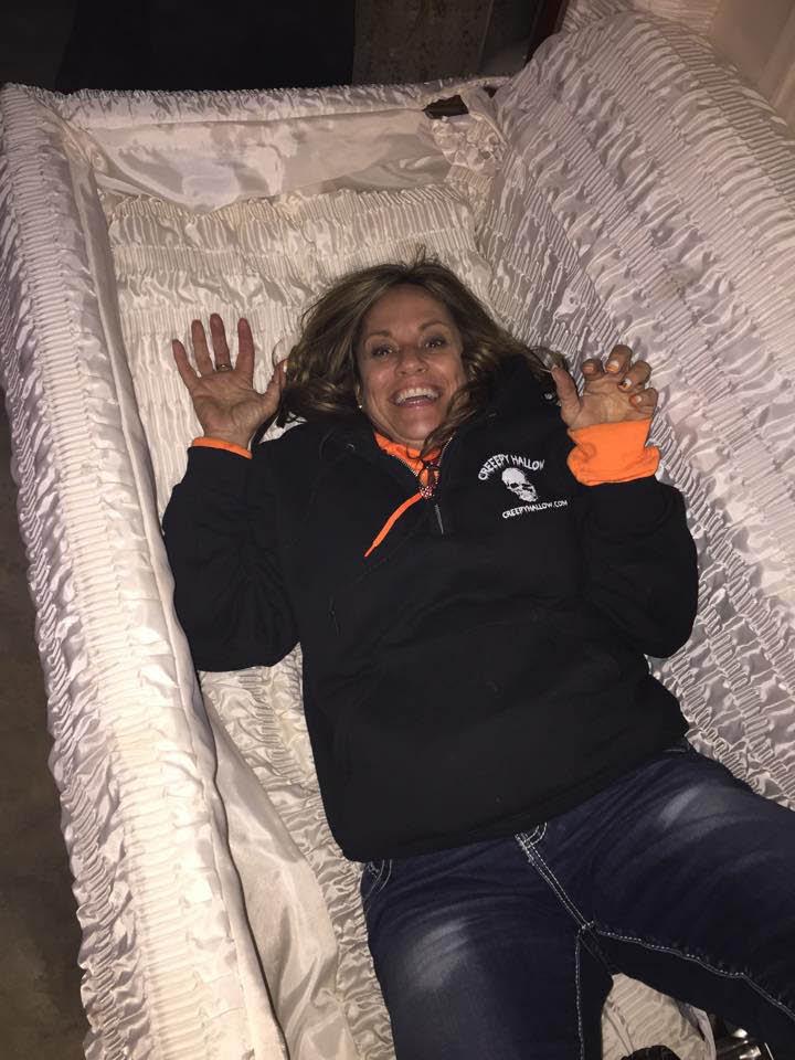Coffin simulator ride at Creepy Hallow.
