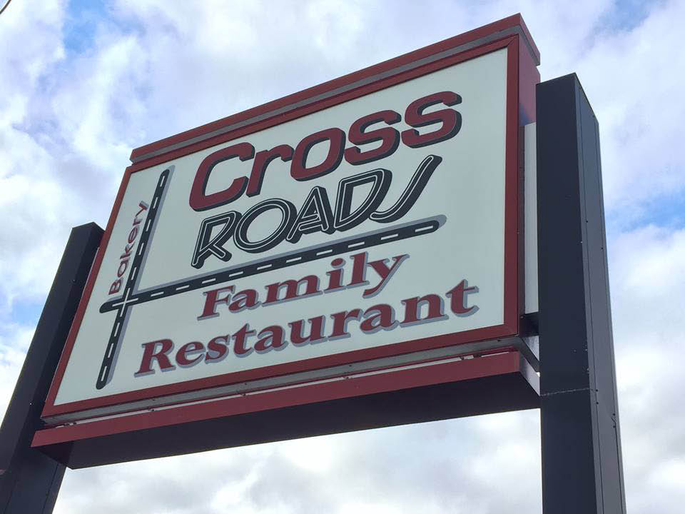 Crossroads Family Restaurant signage in Reading, PA