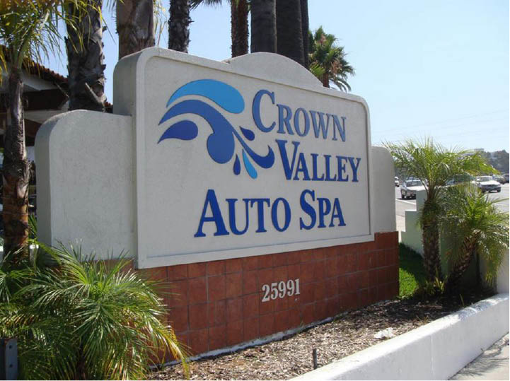 Entrance sign to Crown Valley Auto Spa in Laguna Niguel, CA