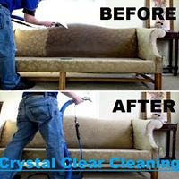 Before and after upholstery cleaning by Crystal Clear Cleaning