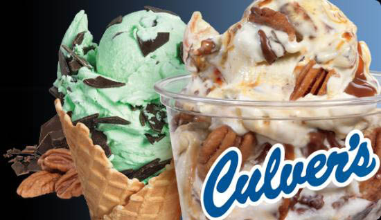 Culver's mint chip ice cream in a waffle cone and carmel pecan sundae in a cup.