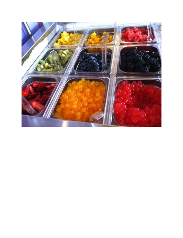 Fruit Topping Selection at Cups Frozen Yogurt in Fair Lawn NJ