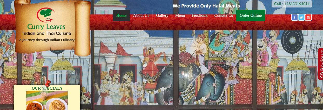 Curry Leaves Indian and Thai Cuisine Banner