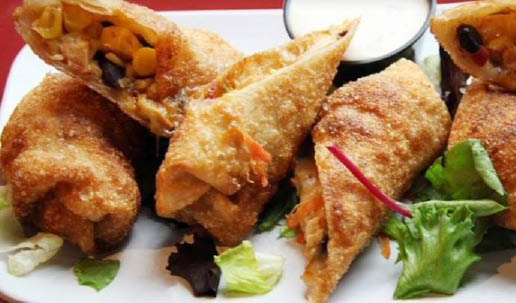 Fried vegan spring rolls from Charles Village Pub & Patio