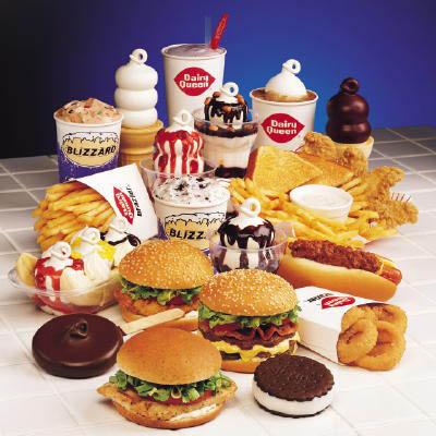 Dairy Queen, Orange Julius, Chicken Strips, Shrimp Quesadilla, Blizzard, Grillburger, Cakes