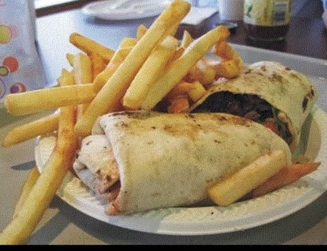 Picture of wrap & fries at Dave's Burgers & Wraps in Oak Park, MI
