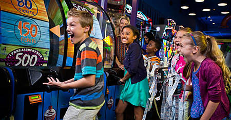 Kids at the Dave & Buster's Midway