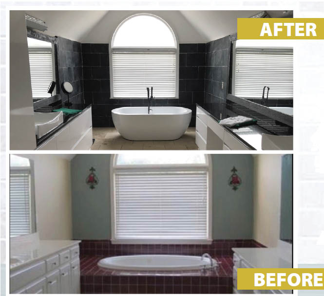 Before & After photos of Bathroom Renovation by Deluxe Painting & Renovations near Atlanta GA