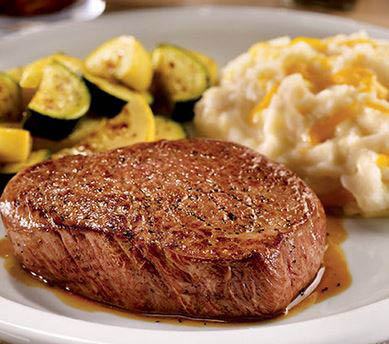 A USDA select, 8 oz. seasoned sirloin steak cooked to perfection. Served with your choice of two sides and dinner bread.