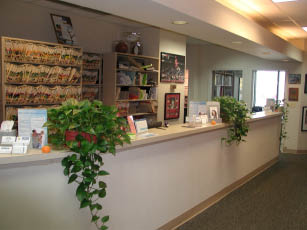 front desk at Meadows Dental Care dentist office in Palatine IL; cosmetic dentistry