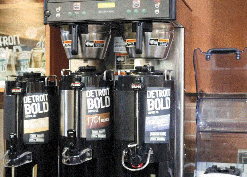 Picture of coffee machines at Detroit Bold Coffee in Hazel Park, MI