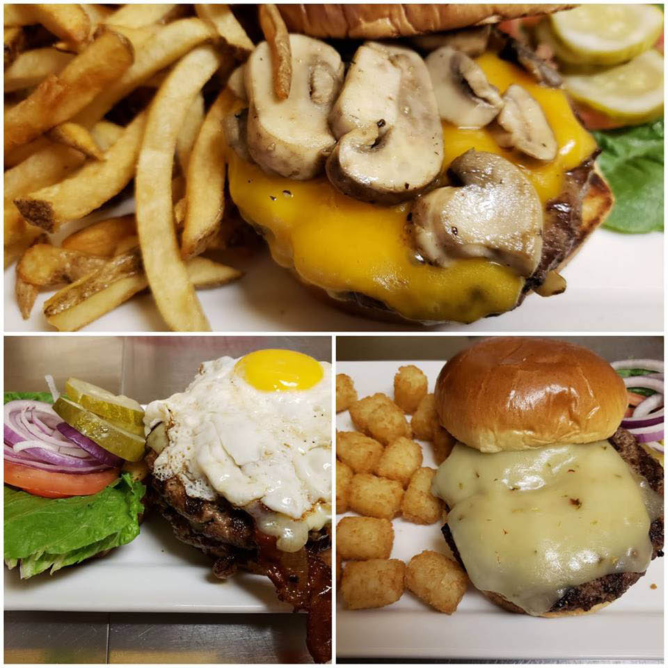 Hand packed 1/2 lb burgers at Diamond's Restraurant   & Bar.