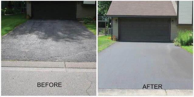 before & after asphalt driveway paving