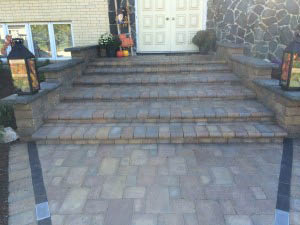 Contemporary stairs bricks pavers by dna