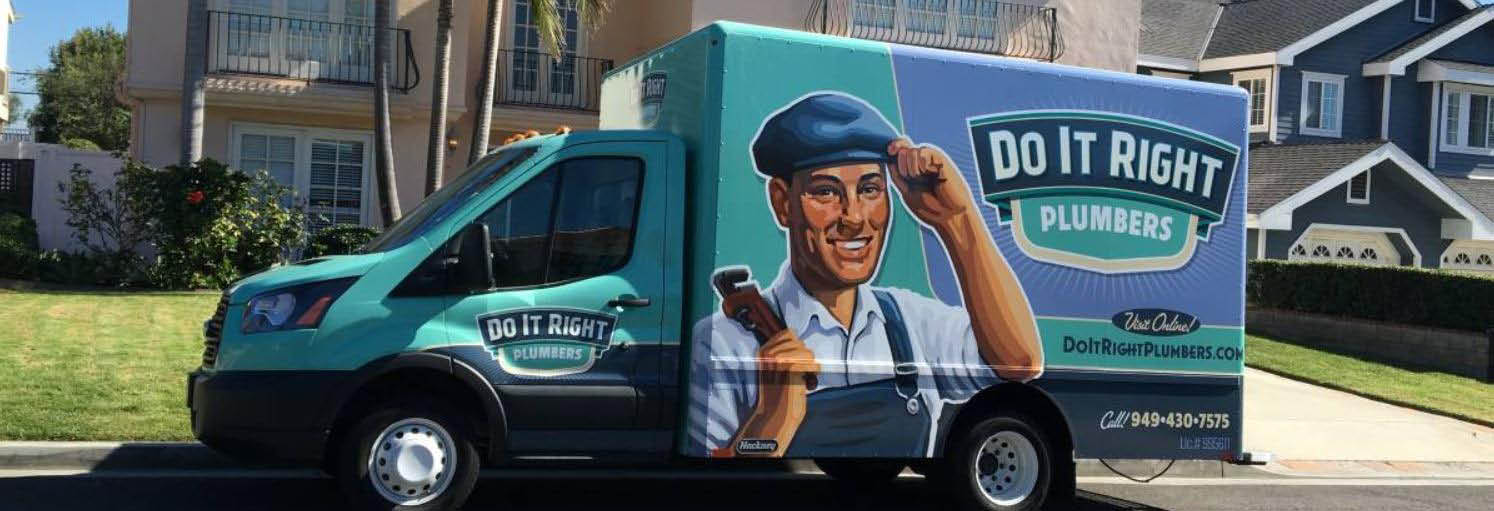 The Do It Right Plumbers making a plumbing service call banner