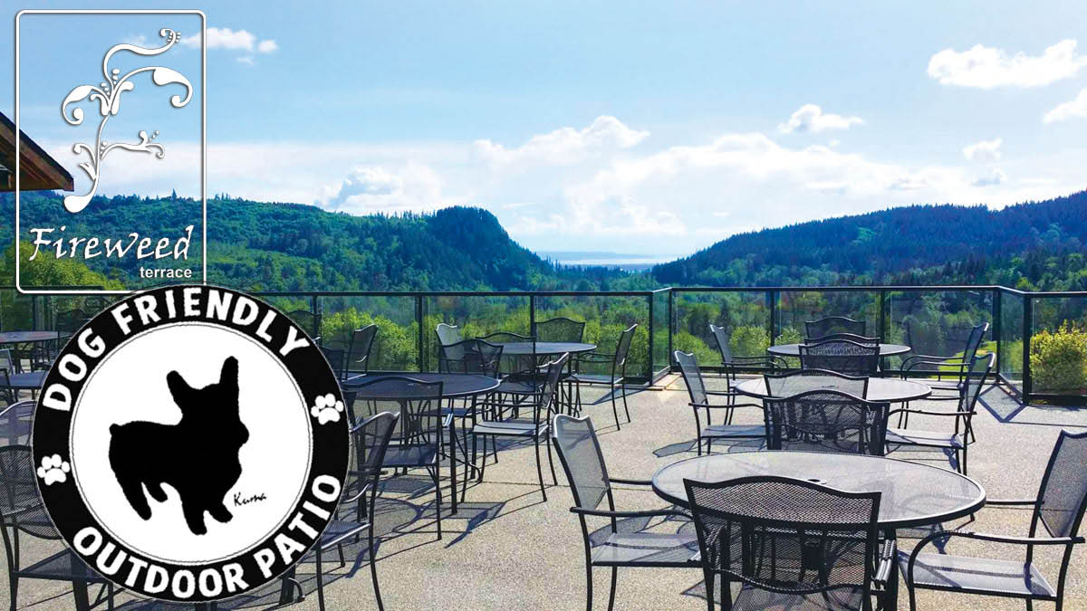 Eaglemont Golf Course & Fireweed Terrace Restaurant & Lounge Dog friendly patio with views of Mount Vernon.