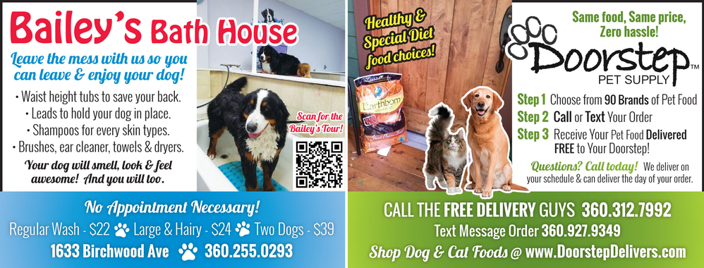 Dog groomer and dog and cat food delivery in Bellingham, WA