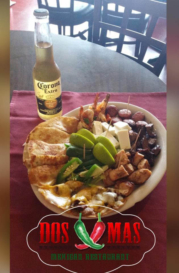Dos Mas Mexican combo platter with an ice cold Corona