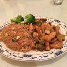 fried rice; shrimp; beef; noodles; spring rolls