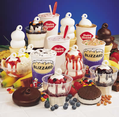 Assortment of sweet treats on the Dairy Queen menu
