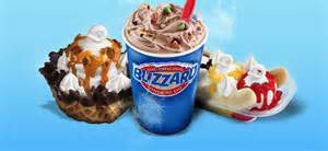 DQ Sundaes, Banana Splits, Triple Chocolate Brownie, Funnel Cake other sweet treats to eat