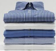 Laundered and folded men's shirts