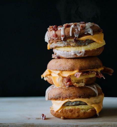 Donut breakfast sandwiches - stacked