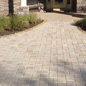 Brick pavers create a residential walkway